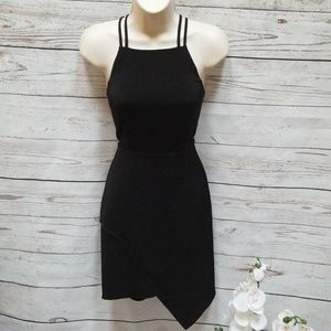 Express Black Asymetrical Back Cutout Dress